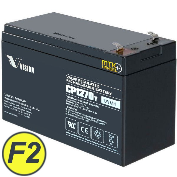VISION CP1270 / 12V 7Ah AGM Blei Akku Batterie F2