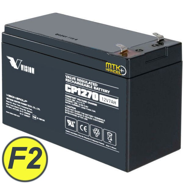 VISION CP1270 / 12V 7Ah AGM Blei Akku Batterie VDS F2