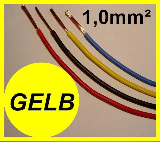 Kupferlitze 1,0mm² GRUNDPREIS 0,41 EURO/m Gelb