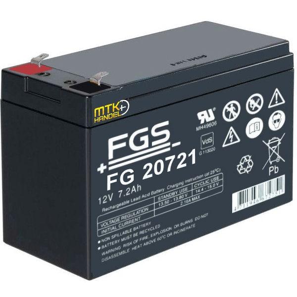FGS FG20721 12V 7,2Ah AGM Blei Akku Batterie VDS F1