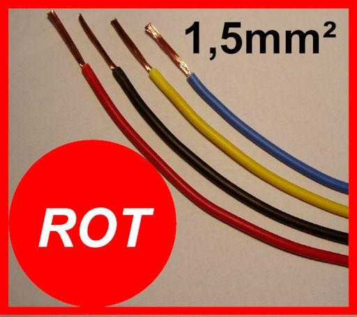 Kupferlitze 1,5mm² GRUNDPREIS 0,49 EURO/m Rot