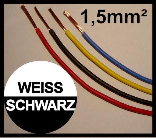 Kupferlitze 1,5mm² GRUNDPREIS 0,49 EURO/m Schwarz Weis