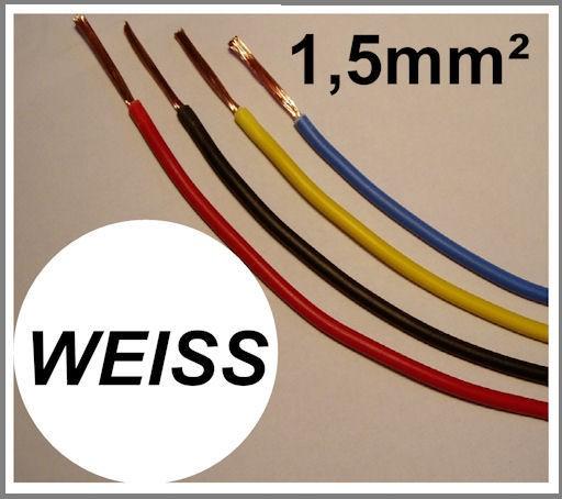 Kupferlitze 1,5mm² GRUNDPREIS 0,49 EURO/m Weiss
